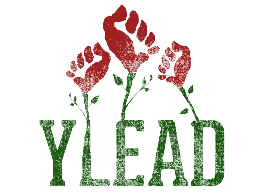 YLEAD Logo with the letters Y L E A D in green and resembling plant stems with the roses growing out of the letters as red fists